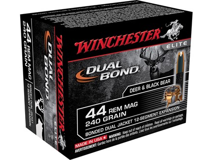 Winchester Supreme Elite Dual Bond Ammunition 44 Remington Magnum 240 Grain Jacketed Hollow Point Box of 20
