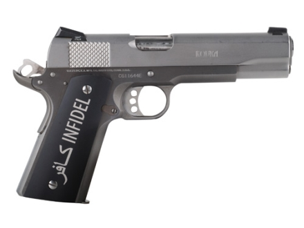 Hogue Extreme Series Grips 1911 Government, Commander Matte Black Aluminum with Infidel Insignia