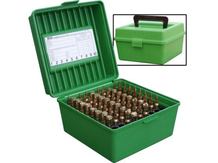 MTM Deluxe Flip-Top Ammo Box with Handle 22-250 Remington to 375 H&amp;H Magnum 100-Round Plastic