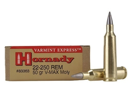 Hornady Varmint Express Ammunition 22-250 Remington 50 Grain V-Max Moly Box of 20