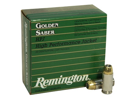Remington Golden Saber Ammunition 40 S&W 165 Grain Brass Jacketed Hollow Point Box of 25