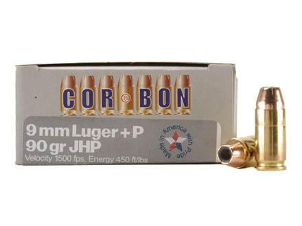 Cor-Bon Self-Defense Ammunition 9mm Luger +P 90 Grain Jacketed Hollow Point Box of 20