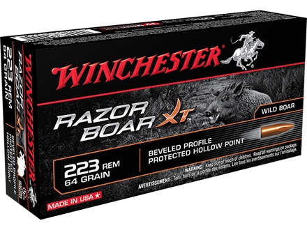 Winchester Razorback XT Ammunition 223 Remington 64 Grain Hollow Point Lead-Free Box of 20