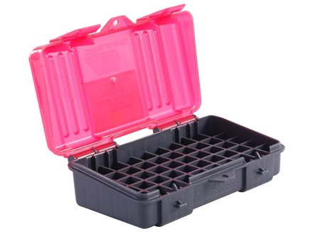 Plano Ammo Box 380 ACP, 9mm Luger 50-Round Plastic Dark Gray and Clear Rose
