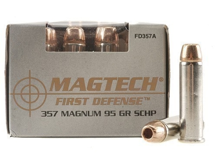 Magtech First Defense Ammunition 357 Magnum 95 Grain Solid Copper Hollow Point Lead-Free Box of 20