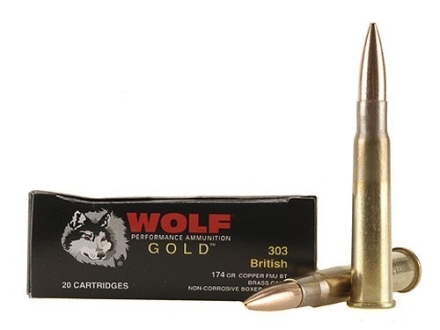 Wolf Gold Ammunition 303 British 174 Grain Full Metal Jacket Box of 20