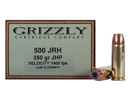 Grizzly Ammunition 500 JRH 350 Grain Hawk Bonded Core Jacketed Hollow Point Box of 20