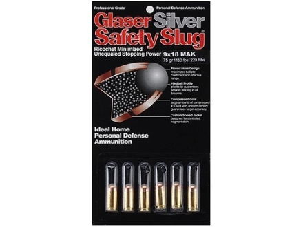 Glaser Silver Safety Slug Ammunition 9x18mm (9mm Makarov) 75 Grain Safety Slug Package of 6