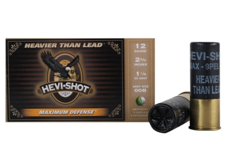 Hevi-Shot Maximum Defense Ammunition 12 Gauge 2-3/4&quot; 1-1/8 oz 00 Buckshot Non-Toxic Box of 5