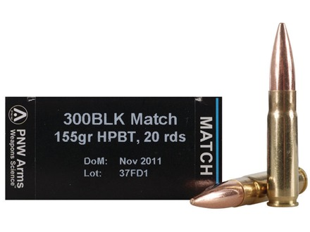 PNW Arms Match Ammunition 300 AAC Blackout 155 Grain Custom Competition Hollow Point  Boat Tail Box of 20