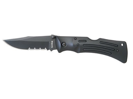 "KA-BAR Mule Folding Knife 4"" Serrated AUS 8A Stainless Steel Clip Point Blade Black Zytel Handle Black with Nylon Sheath"