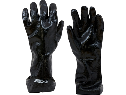 Baker 14&quot; Chemical Resistant Gloves PVC Coated Large Black