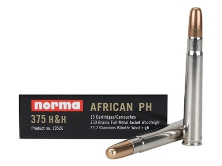 Norma African PH Ammunition 375 H&amp;H Magnum 350 Grain Woodleigh Full Metal Jacket Box of 10