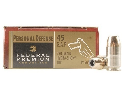 Federal Premium Personal Defense Ammunition 45 GAP 230 Grain Hydra-Shok Jacketed Hollow Point Box of 20