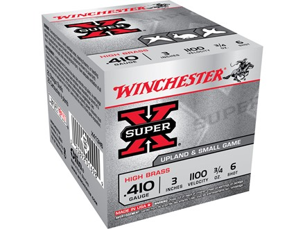 Winchester Super-X High Brass Ammunition 410 Bore 3&quot; 3/4 oz #6 Shot Box of 25