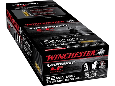 Winchester Super-X Ammunition 22 Winchester Magnum Rimfire (WMR) 28 Grain Jacketed Hollow Point Lead-Free