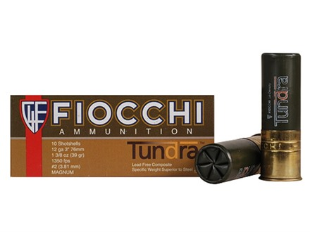 "Fiocchi Tundra Waterfowl Ammunition 12 Gauge 3"" 1-3/8 oz #2 Non-Toxic Shot Box of 10"