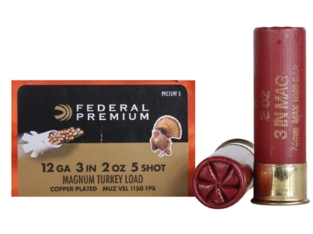 "Federal Premium Mag-Shok Turkey Ammunition 12 Gauge 3"" 2 oz #5 Copper Plated Shot High Velocity Box of 10"