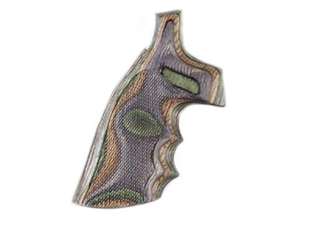 Hogue Fancy Hardwood Conversion Grips with Finger Grooves S&W N-Frame Round to Square Butt Checkered Lamo Camo
