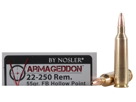 Nosler Varmageddon Ammunition 22-250 Remington 55 Grain Hollow Point Flat Base Box of 20