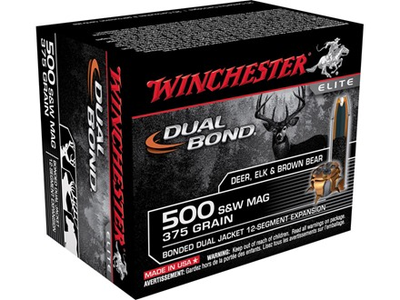 Winchester Supreme Elite Dual Bond Ammunition 500 S&W Magnum 375 Grain Jacketed Hollow Point Box of 20