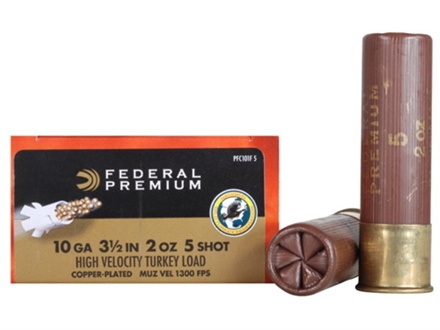 "Federal Premium Mag-Shok Turkey Ammunition 10 Gauge 3-1/2"" 2 oz #5 Copper Plated Shot High Velocity Box of 10"