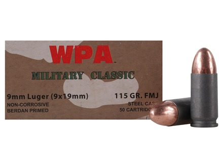 Wolf Military Classic Ammunition 9mm Luger 115 Grain Full Metal Jacket (Bi-Metal) Steel Case Berdan Primed Box of 50