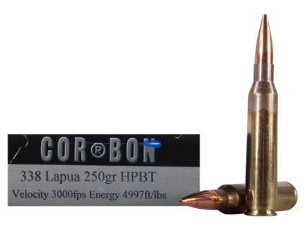 Cor-Bon Performance Match Ammunition 338 Lapua Magnum 250 Grain Hollow Point Boat Tail Box of 20