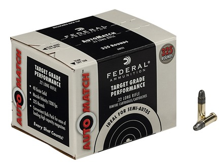 Federal AutoMatch Target Ammunition 22 Long Rifle 40 Grain Lead Round Nose Box of 325