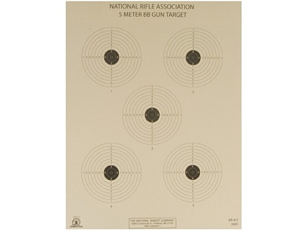 NRA Official Air Rifle Target AR-4/5 5 Meter BB Gun Paper Package of 100