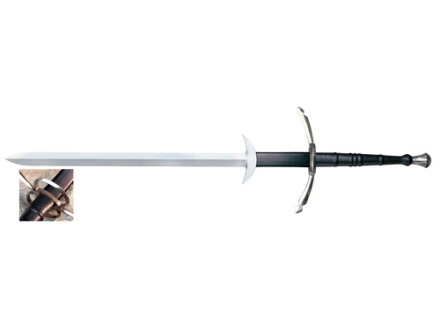 Cold Steel Two Handed Great Sword 39.88&quot; 1055 Carbon Steel Blade Leather Wrapped Handle Black
