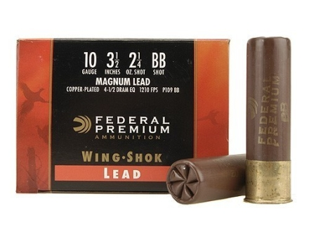 "Federal Premium Wing-Shok Ammunition 10 Gauge 3-1/2"" 2-1/4 oz Buffered BB Copper Plated Shot Box of 25"
