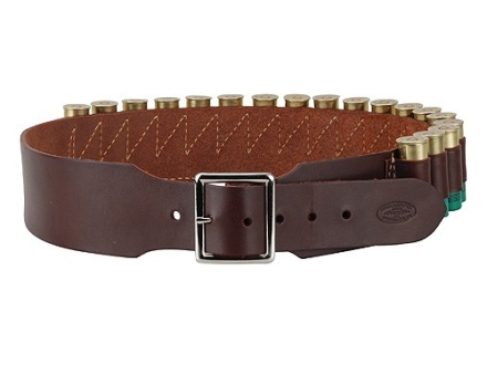 "Hunter Cartridge Belt 2-1/2"" 12 Gauge 18 Loops Leather Antique Brown Large"