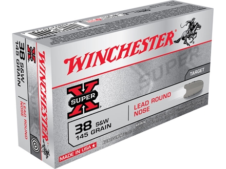 Winchester Super-X Ammunition 38 S&amp;W 145 Grain Lead Round Nose Box of 50