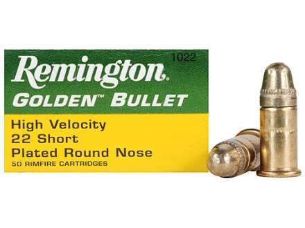 Remington High Velocity Ammunition 22 Short 29 Grain Plated Lead Round Nose Box of 500 (10 Boxes of 50)