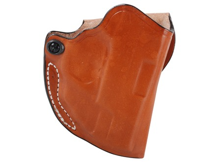 DeSantis Mini Scabbard Outside the Waistband Holster Right Hand Smith &amp; Wesson M&amp;P Shield with Crimson Trace LG489 Leather Tan