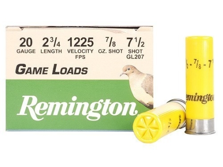 Remington Game Load Ammunition 20 Gauge 2-3/4&quot; 7/8 oz #7-1/2 Shot Box of 25