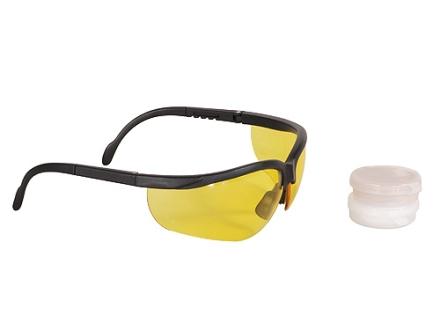 Radians Shooter's Kit Shooting Glasses and Custom Molded Ear Plug Combo Amber Lens Black Frame