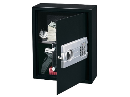 Stack-On Personal Drawer/Wall Safe with Electronic Lock and 1 Shelf Charcoal Gray