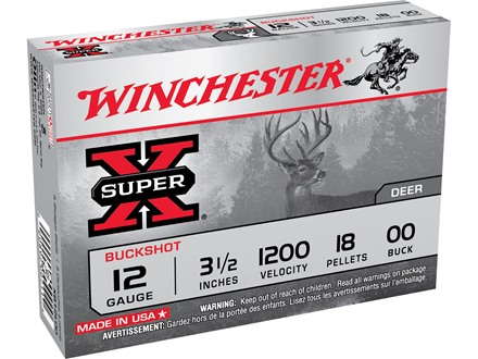 "Winchester Super-X Magnum Ammunition 12 Gauge 3-1/2"" Buffered 00 Buckshot 18 Pellets Box of 5"
