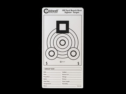 Caldwell 100 Yard Benchrest Sighter Target 3&quot; x 6&quot; Pack of 10 Sheets 1 per Sheet White