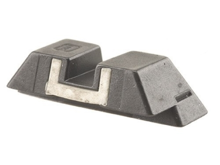 Glock Square Rear Sight 6.5mm .256&quot; Height Steel Black White Outline