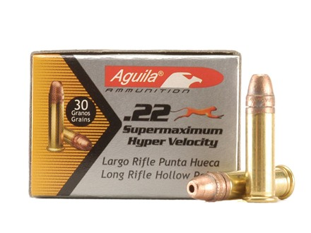 Aguila Super Maximum Ammunition 22 Long Rifle 30 Grain Hyper Velocity Plated Lead Hollow Point