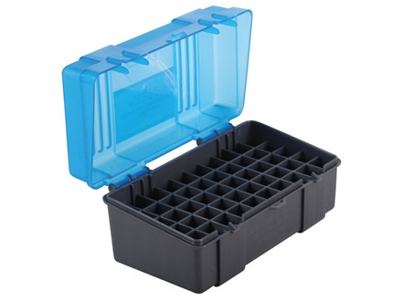 Plano Ammo Box 22-250 Remington, 250 Savage, 35 Remington 50-Round Plastic Dark Gray and Clear Blue