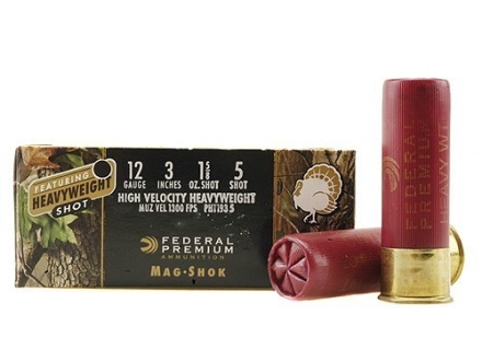 "Federal Premium Mag-Shok Turkey Ammunition 12 Gauge 3"" 1-5/8 oz #5 Heavyweight Shot Flitecontrol Wad Box of 5"