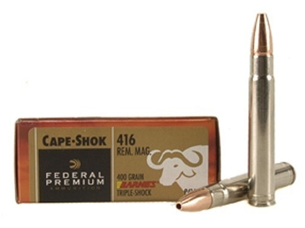 Federal Premium Cape-Shok Ammunition 416 Remington Magnum 400 Grain Barnes Triple-Shock X Bullet Hollow Point Lead-Free Box of 20