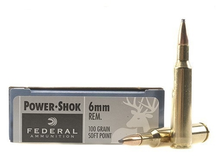 Federal Power-Shok Ammunition 6mm Remington 100 Grain Soft Point Box of 20