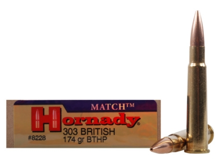 Hornady Vintage Match Ammunition 303 British 174 Grain Boat Tail Hollow Point Box of 20