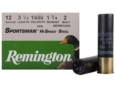 "Remington Sportsman Hi-Speed Ammunition 12 Gauge 3-1/2"" 1-3/8 oz #2 Non-Toxic Steel Shot Box of 25"