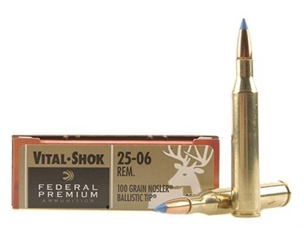 Federal Premium Vital-Shok Ammunition 25-06 Remington 100 Grain Nosler Ballistic Tip Box of 20